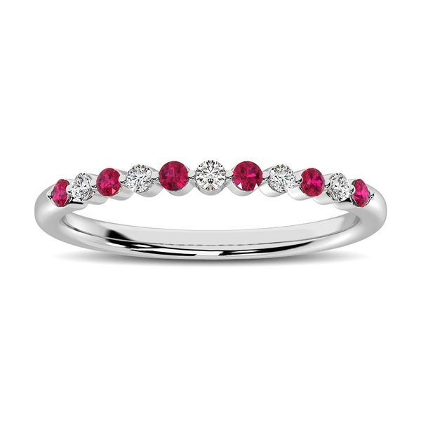 14K White Gold Alternate Diamond 1/4 Ctw and Ruby Ring Robert Irwin Jewelers Memphis, TN