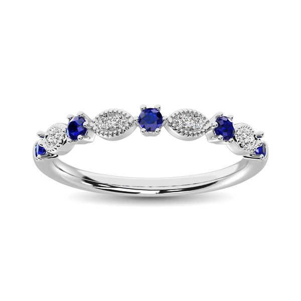 Diamond 1/4 Ct.Tw. Alternate and Blue Sapphire Stackable Band in 14K White Gold Robert Irwin Jewelers Memphis, TN