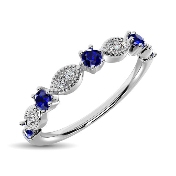Diamond 1/4 Ct.Tw. Alternate and Blue Sapphire Stackable Band in 14K White Gold Image 2 Robert Irwin Jewelers Memphis, TN