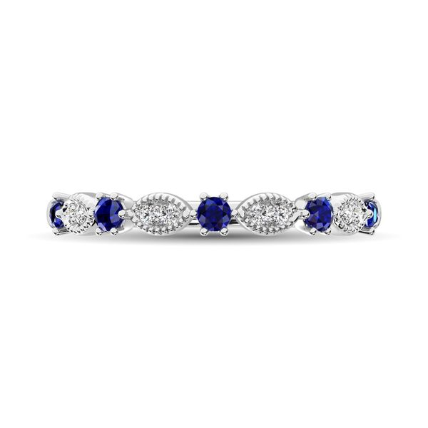 Diamond 1/4 Ct.Tw. Alternate and Blue Sapphire Stackable Band in 14K White Gold Image 3 Robert Irwin Jewelers Memphis, TN