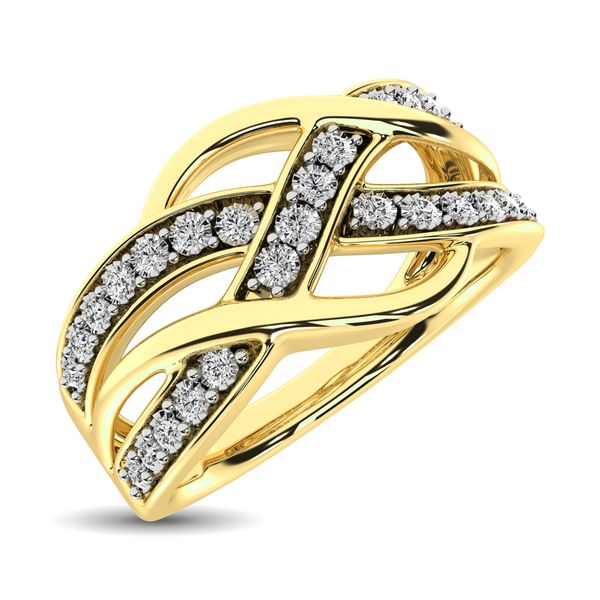 10K Yellow Gold 1/20 Ct.Tw. Diamond Criss Cross Ring Robert Irwin Jewelers Memphis, TN