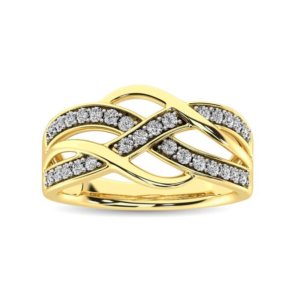 10K Yellow Gold 1/20 Ct.Tw. Diamond Criss Cross Ring Image 2 Robert Irwin Jewelers Memphis, TN