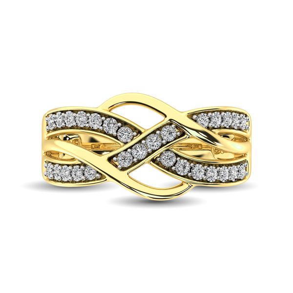 10K Yellow Gold 1/20 Ct.Tw. Diamond Criss Cross Ring Image 3 Robert Irwin Jewelers Memphis, TN