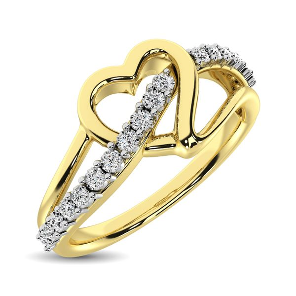 10K Yellow Gold 1/20 Ct.Tw. Diamond Heart Ring Robert Irwin Jewelers Memphis, TN
