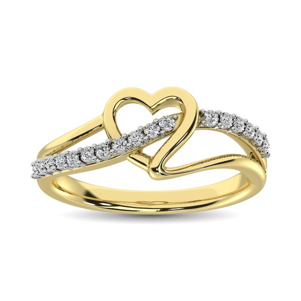 10K Yellow Gold 1/20 Ct.Tw. Diamond Heart Ring Image 2 Robert Irwin Jewelers Memphis, TN