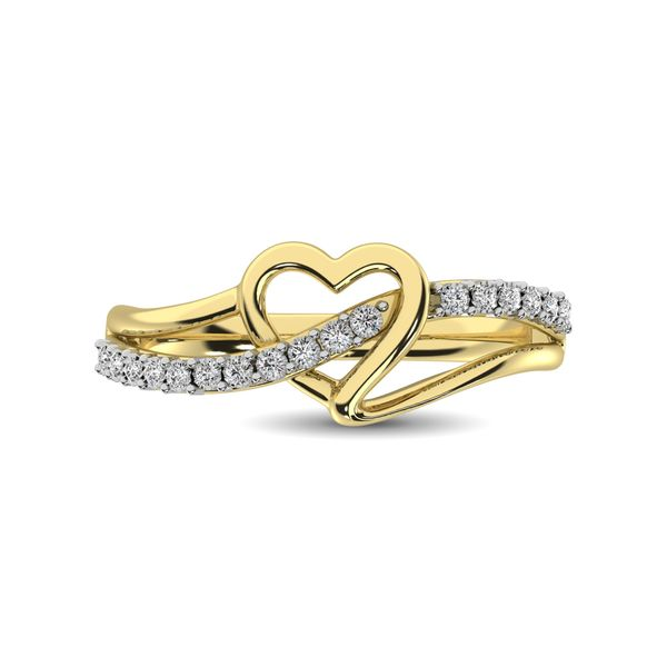 10K Yellow Gold 1/20 Ct.Tw. Diamond Heart Ring Image 3 Robert Irwin Jewelers Memphis, TN