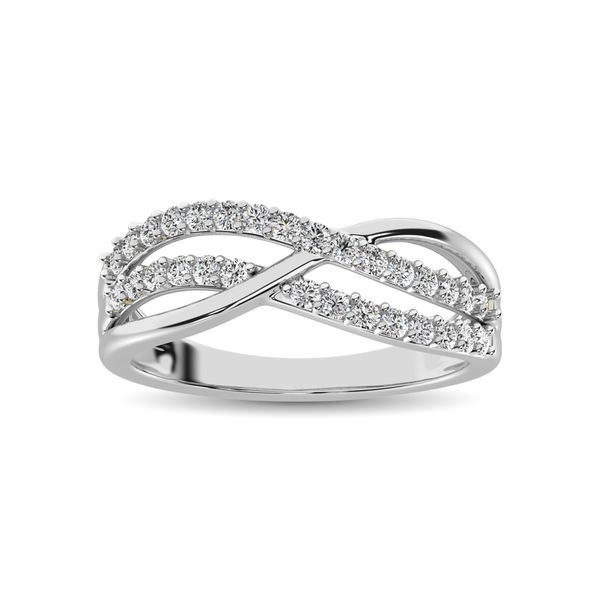 10K White Gold 1/10 Ct.Tw. Diamond Criss Cross Ring Image 2 Robert Irwin Jewelers Memphis, TN