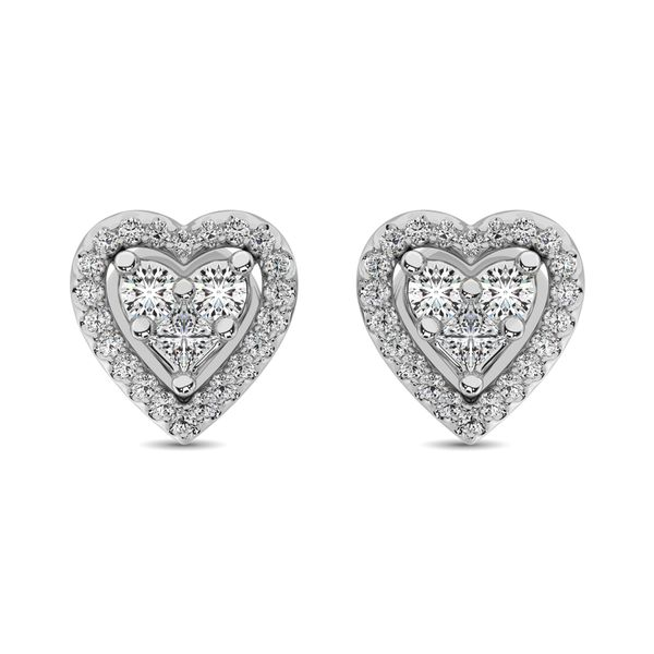 10K White Gold 1/3 Ct.Tw. Diamond Heart Stud Earrings Robert Irwin Jewelers Memphis, TN