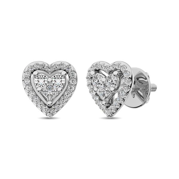 10K White Gold 1/3 Ct.Tw. Diamond Heart Stud Earrings Image 3 Robert Irwin Jewelers Memphis, TN