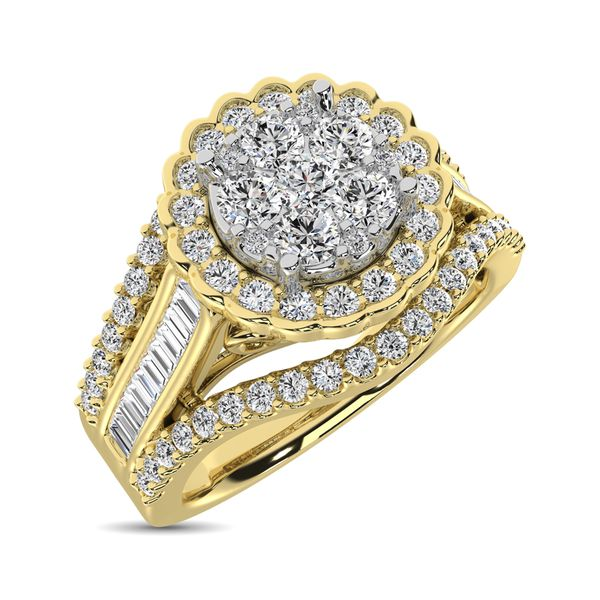 10K Yellow Gold Round and Baguette Diamond 1 Ct.Tw. Engagement Ring Robert Irwin Jewelers Memphis, TN