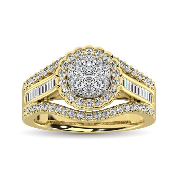 10K Yellow Gold Round and Baguette Diamond 1 Ct.Tw. Engagement Ring Image 2 Robert Irwin Jewelers Memphis, TN