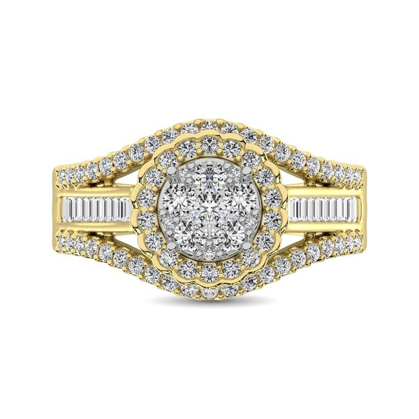 10K Yellow Gold Round and Baguette Diamond 1 Ct.Tw. Engagement Ring Image 3 Robert Irwin Jewelers Memphis, TN