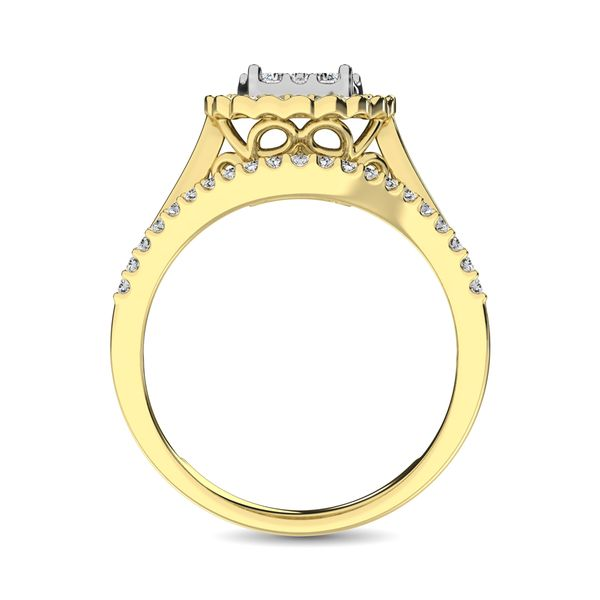 10K Yellow Gold Round and Baguette Diamond 1 Ct.Tw. Engagement Ring Image 4 Robert Irwin Jewelers Memphis, TN