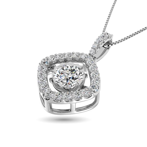 Diamond Shimmering Pendant 1 3/8 ct tw in 14K White Gold Image 2 Robert Irwin Jewelers Memphis, TN