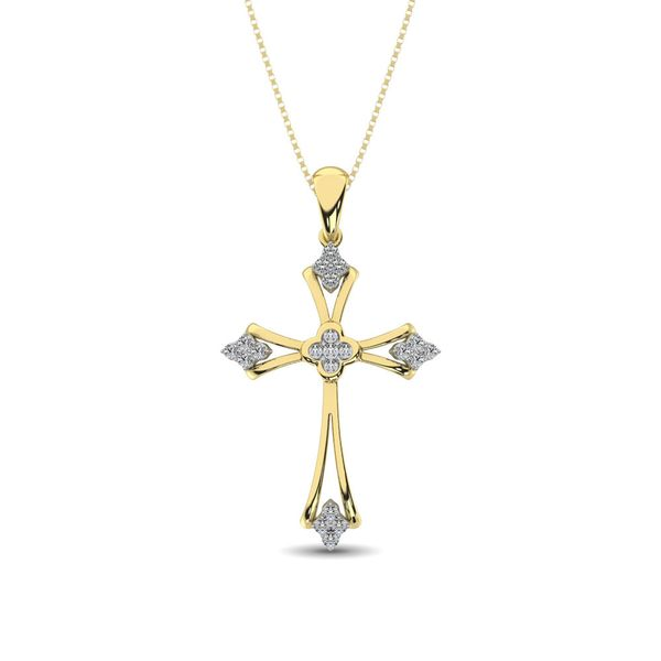 Gothic Style Diamond 1/5 Ct.Tw Cross Pendant in 10K Yellow Gold Robert Irwin Jewelers Memphis, TN