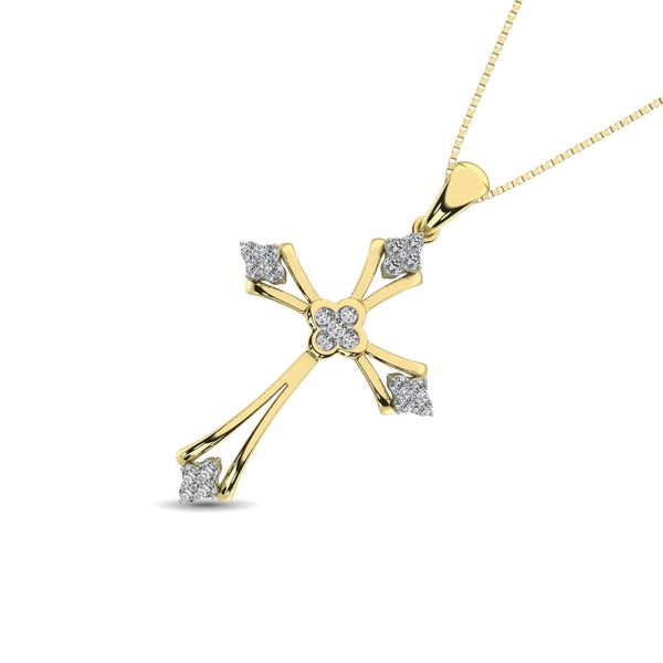 Gothic Style Diamond 1/5 Ct.Tw Cross Pendant in 10K Yellow Gold Image 2 Robert Irwin Jewelers Memphis, TN