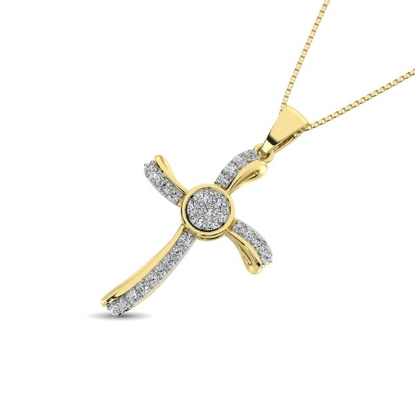 14K Yellow Gold 1/5 Ct.Tw. Diamond Cross Pendant Image 2 Robert Irwin Jewelers Memphis, TN