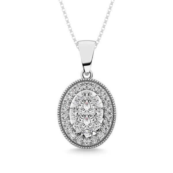 Diamond 1/2.Tw. Round Shape Cluster Pendant in 14K White Gold Robert Irwin Jewelers Memphis, TN