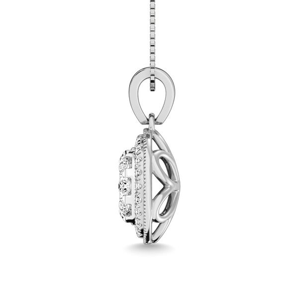 Diamond 1/2.Tw. Round Shape Cluster Pendant in 14K White Gold Image 3 Robert Irwin Jewelers Memphis, TN