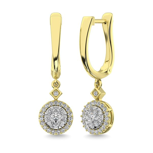 Diamond 1/2 Ct.Tw. ClusterDanglers Earrings in 10K Yellow Gold Robert Irwin Jewelers Memphis, TN