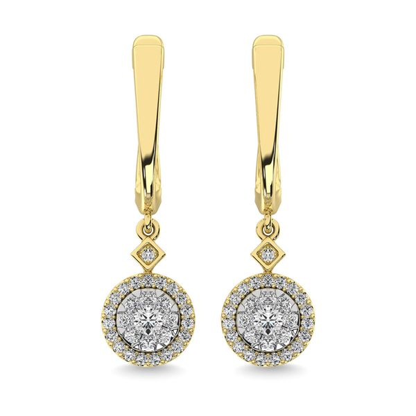 Diamond 1/2 Ct.Tw. ClusterDanglers Earrings in 10K Yellow Gold Image 2 Robert Irwin Jewelers Memphis, TN
