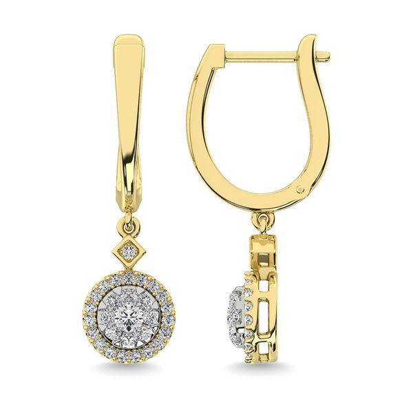 Diamond 1/2 Ct.Tw. ClusterDanglers Earrings in 10K Yellow Gold Image 3 Robert Irwin Jewelers Memphis, TN