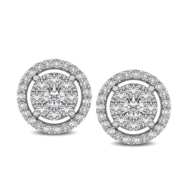 Diamond 1/2 Ct.Tw. Round Double Frame Stud Earrings Robert Irwin Jewelers Memphis, TN