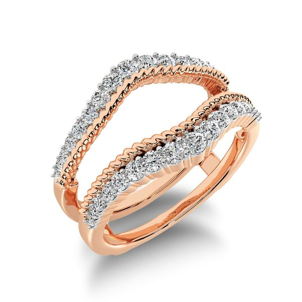 14K Rose Gold 2/5 Ct.Tw. Diamond Rope Texute Guard Ring Robert Irwin Jewelers Memphis, TN