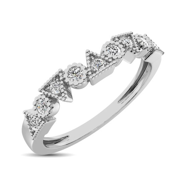 Trigale and Round Shape Diamond 1/10 ctw Band Ring in 14K White Gold Robert Irwin Jewelers Memphis, TN