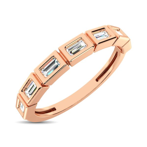 14K Rose Gold 1/4 Ct.Tw. Diamond Straight Buggete Stackable Band Robert Irwin Jewelers Memphis, TN