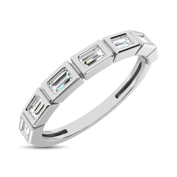 14K White Gold 1/4 Ct.Tw. Diamond Straight Buggete Stackable Band Robert Irwin Jewelers Memphis, TN