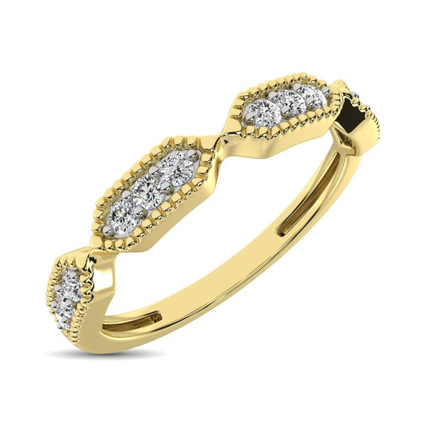 Beaded Style Band set with 1/6 Ctw Diamond in 14K Yellow Gold Robert Irwin Jewelers Memphis, TN