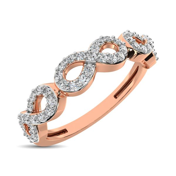 14K Rose Gold 1/4 Ct.Tw. Diamond Open Frame Stackable Band Robert Irwin Jewelers Memphis, TN