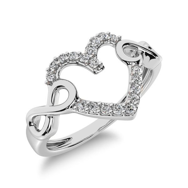10K White Gold 1/8 Ct.Tw. Diamond Heart Ring Robert Irwin Jewelers Memphis, TN
