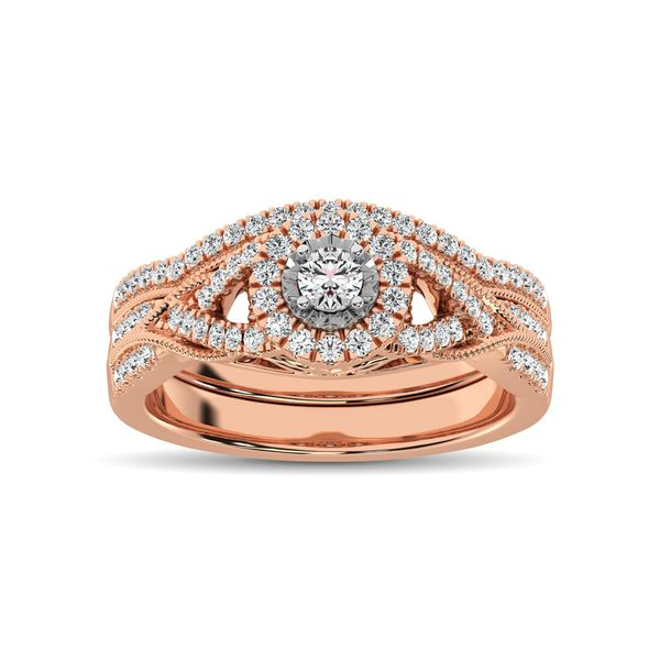 10K Rose Gold 1/2 Ct.Tw. Diamond Bridal Ring Image 3 Robert Irwin Jewelers Memphis, TN
