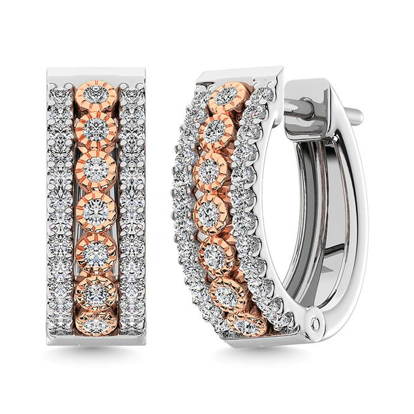 Diamond 3/8 Ct.Tw. Hoop Earrings in 14K Two Tone Gold Robert Irwin Jewelers Memphis, TN