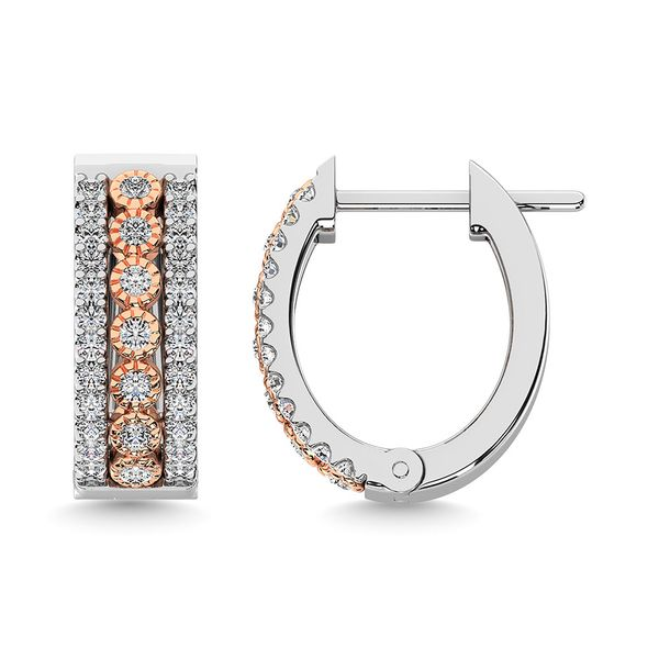 Diamond 3/8 Ct.Tw. Hoop Earrings in 14K Two Tone Gold Image 3 Robert Irwin Jewelers Memphis, TN
