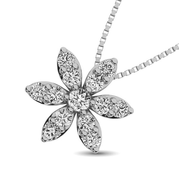 Diamond 1/4 Ct.Tw. Flower Pendant Image 2 Robert Irwin Jewelers Memphis, TN