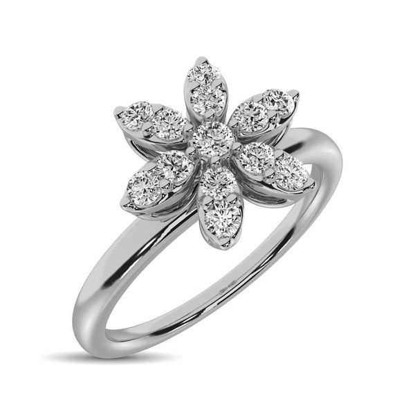 10K White Gold 1/4 Ctw Diamond Flower Ring Robert Irwin Jewelers Memphis, TN