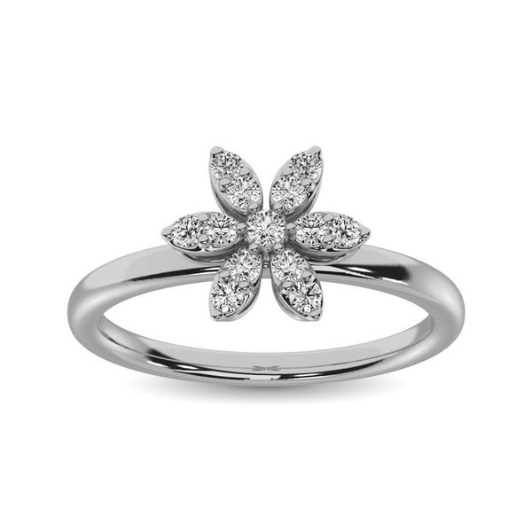 10K White Gold 1/4 Ctw Diamond Flower Ring Image 2 Robert Irwin Jewelers Memphis, TN