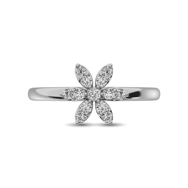 10K White Gold 1/4 Ctw Diamond Flower Ring Image 4 Robert Irwin Jewelers Memphis, TN