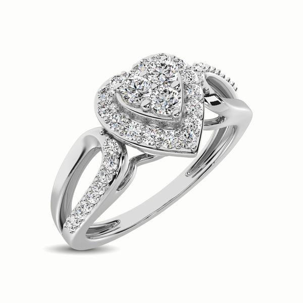 10K White Gold 1/4 Ct.Tw. Diamond Heart Engagement Ring Robert Irwin Jewelers Memphis, TN
