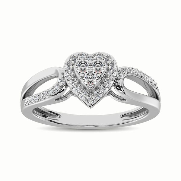 10K White Gold 1/4 Ct.Tw. Diamond Heart Engagement Ring Image 2 Robert Irwin Jewelers Memphis, TN