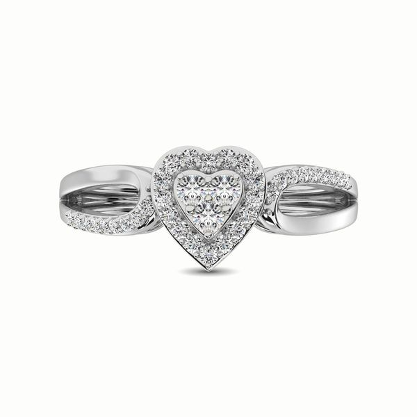 10K White Gold 1/4 Ct.Tw. Diamond Heart Engagement Ring Image 3 Robert Irwin Jewelers Memphis, TN