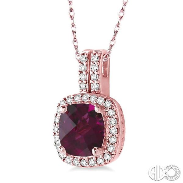 7x7 mm Cushion Cut Rhodolite Garnet and 1/5 Ctw Round Cut Diamond Pendant in 14K Rose Gold with Chain Image 2 Robert Irwin Jewelers Memphis, TN
