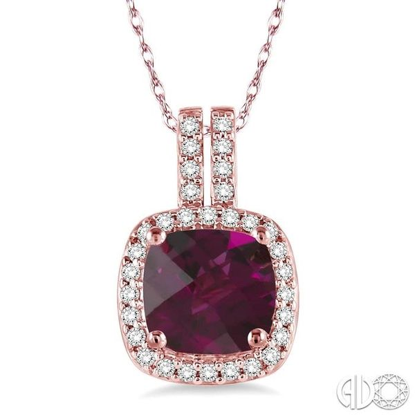 7x7 mm Cushion Cut Rhodolite Garnet and 1/5 Ctw Round Cut Diamond Pendant in 14K Rose Gold with Chain Robert Irwin Jewelers Memphis, TN