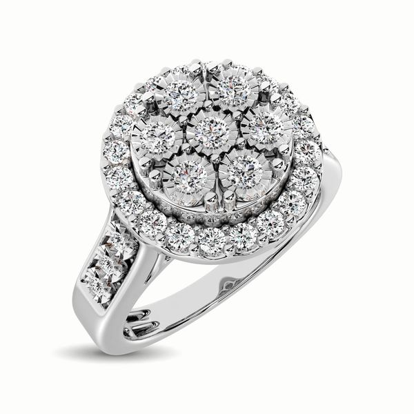 10K White Gold 1/2 Ct.Tw. Diamond Cluster Ring Robert Irwin Jewelers Memphis, TN