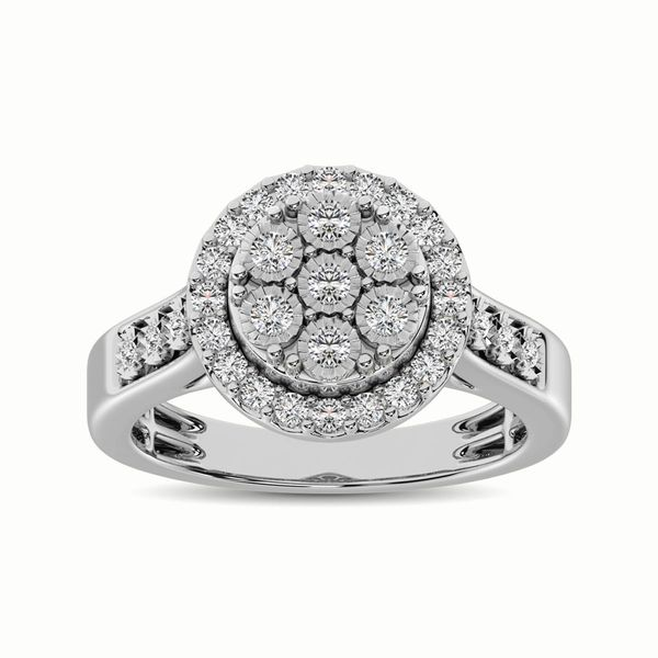 10K White Gold 1/2 Ct.Tw. Diamond Cluster Ring Image 2 Robert Irwin Jewelers Memphis, TN