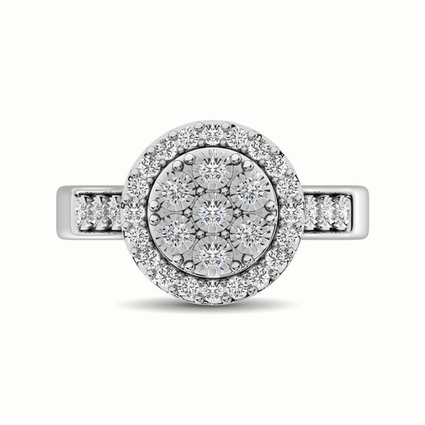 10K White Gold 1/2 Ct.Tw. Diamond Cluster Ring Image 3 Robert Irwin Jewelers Memphis, TN