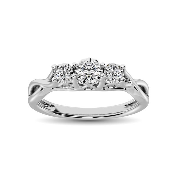10K White Gold 1/5 Ct.Tw. Diamond Three Stone Ring Image 2 Robert Irwin Jewelers Memphis, TN
